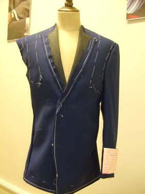 Bespoke Baste Suit Fitting An Electric Blue Suit for a Henry Herbert Customer
