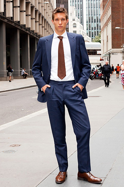 Navy Suit Brown Shoes Wedding - Ocodea.com