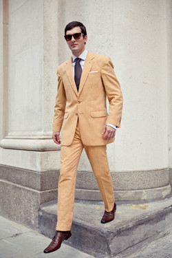 Bespoke summer suits: ochre seersucker by Henry Herbert