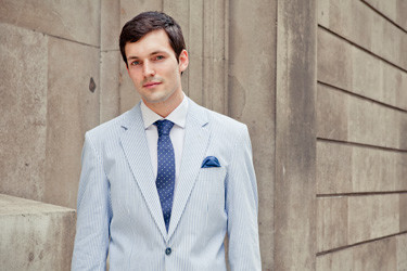 Bespoke summer suits: seersucker blue by Henry Herbert