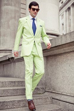 Bespoke summer suits: lime cotton by Henry Herbert