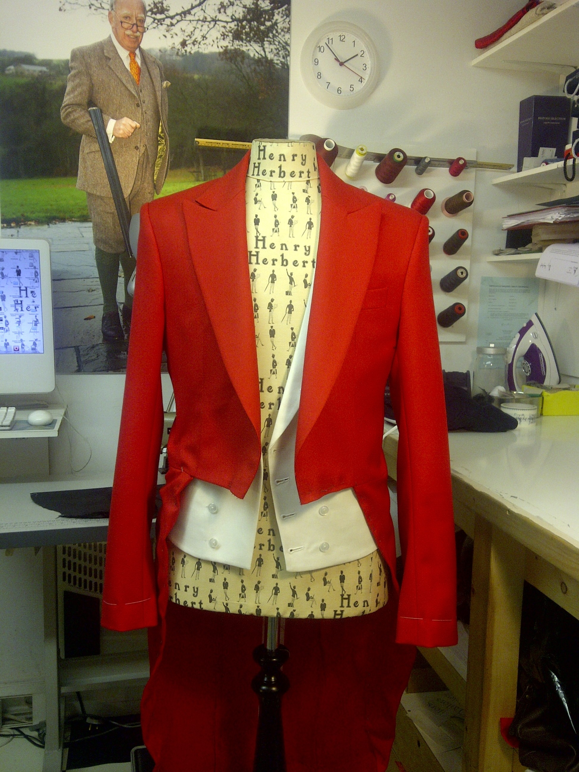 Bespoke red Borning Suit Ready for Customer