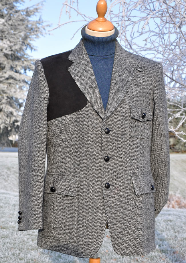 GREY HERRINGBONE HARRIS TWEED JACKET jpg Grey Herringbone Shooting Jacket
