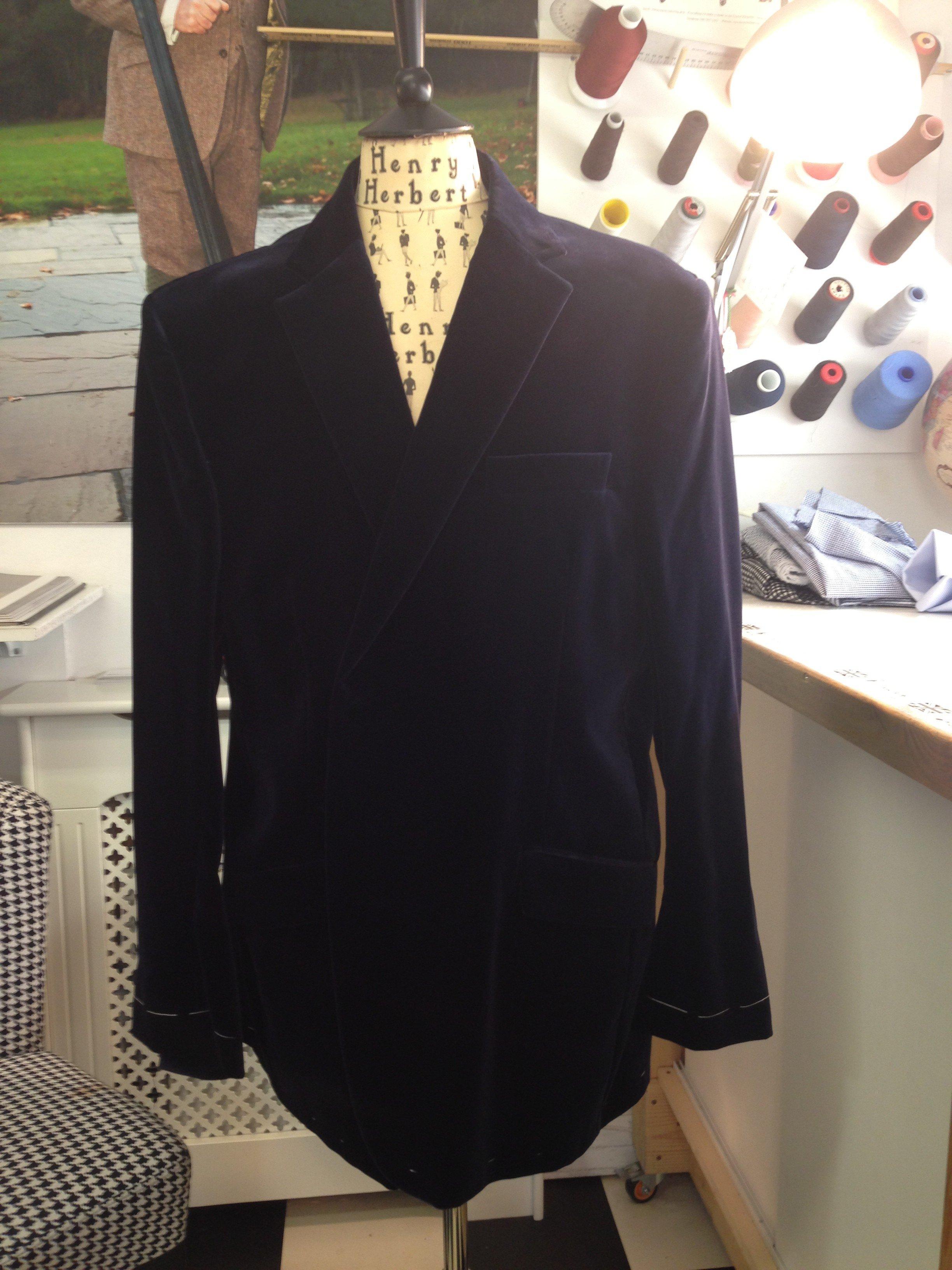velvet jacket forward baste fitting