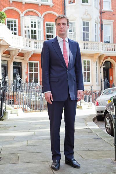 Bespoke Mens Blue Wool Business Suit