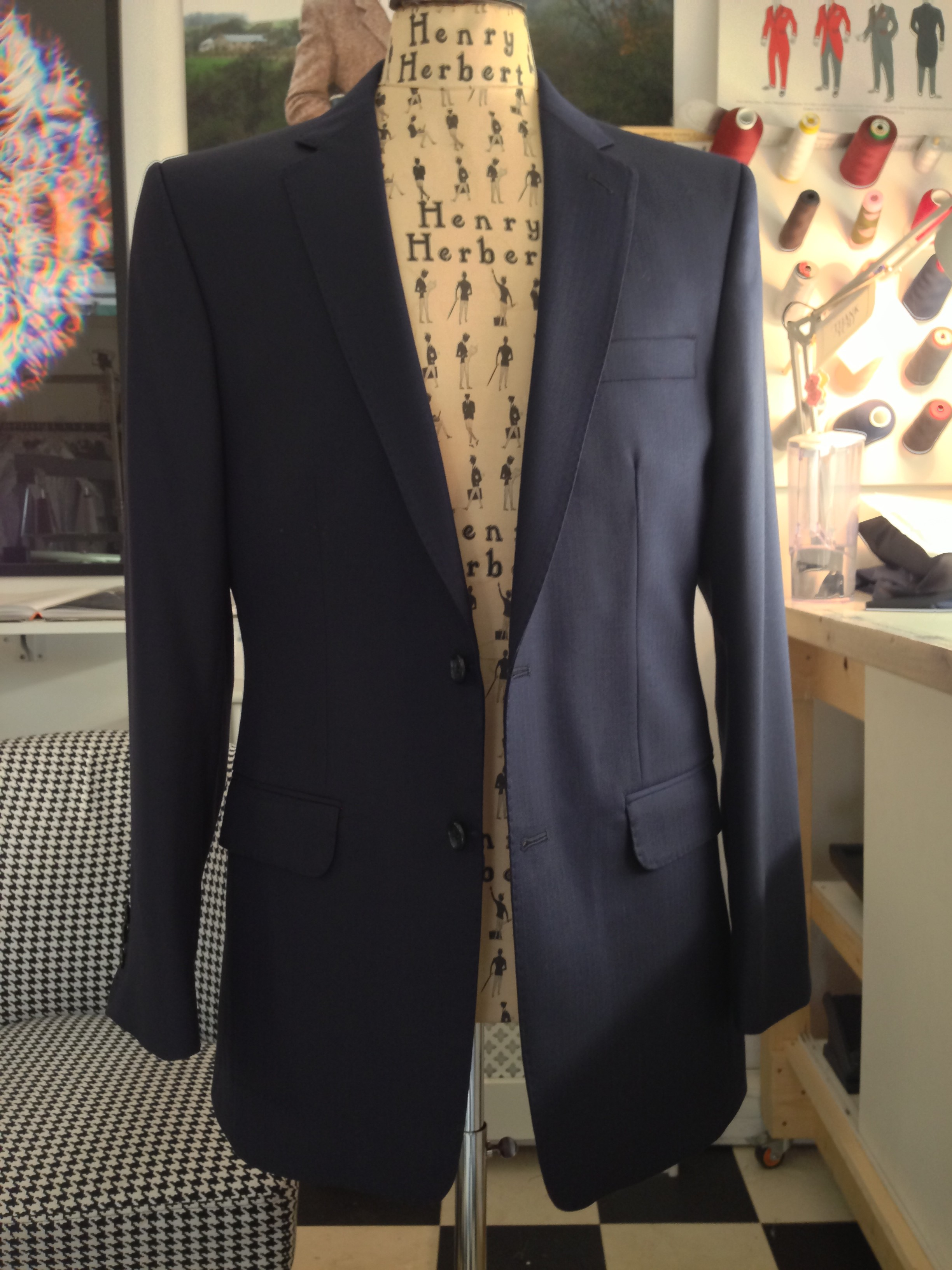 navy blue single breasted suit