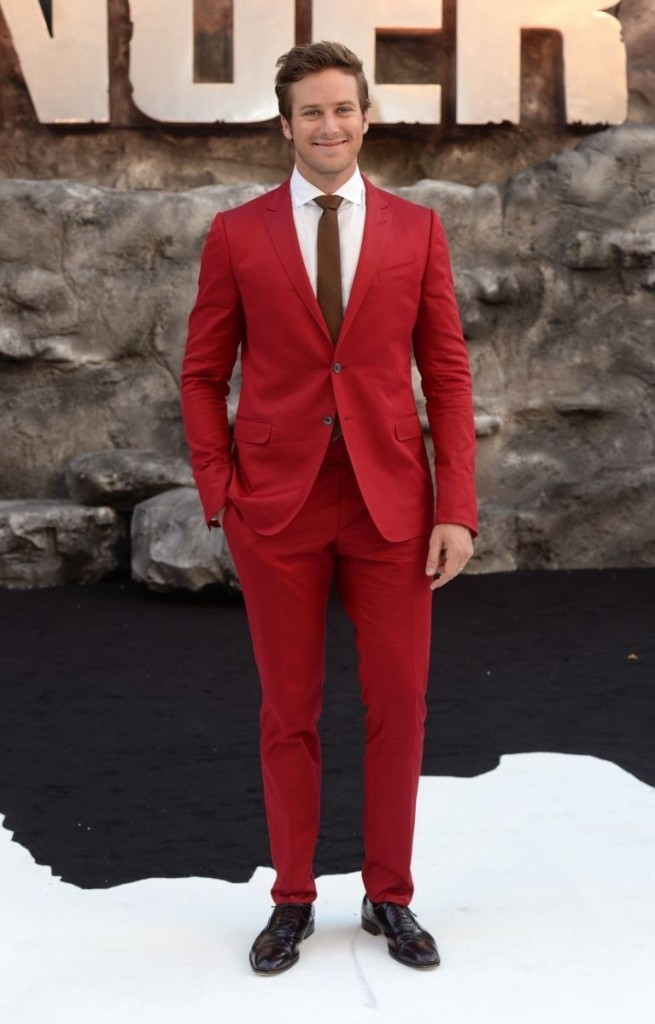 armie hammer red suit