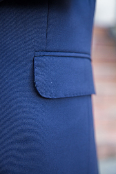 Bespoke Mens Blue Wool Business Suit Detail