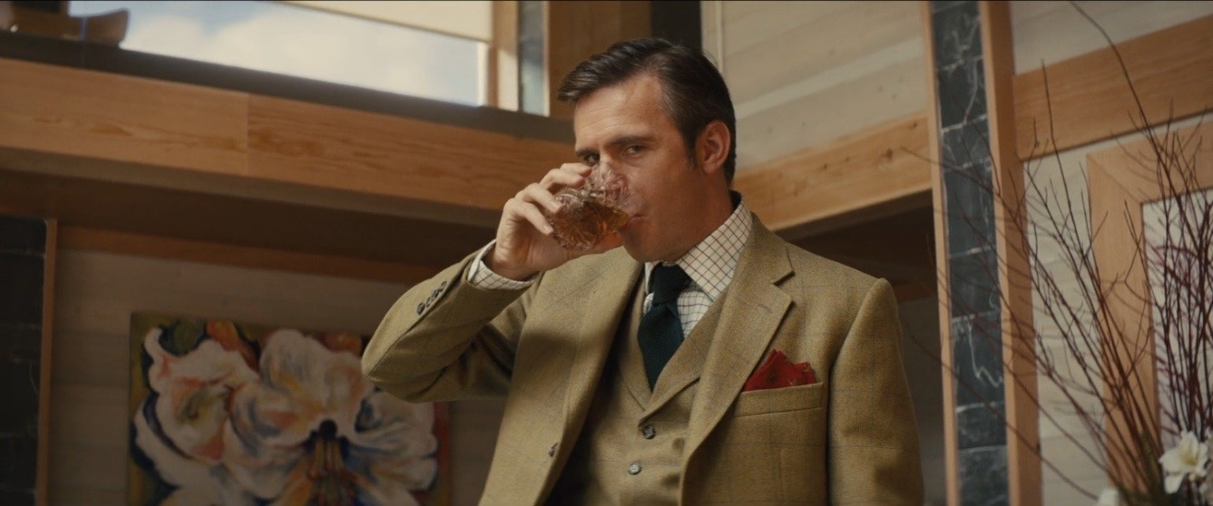 """It would be a sin to spill any."" A fine scotch whisky plays a part in this scene from the 2014 film Kingsman: The Secret Service. From www.scotchcinema.com"
