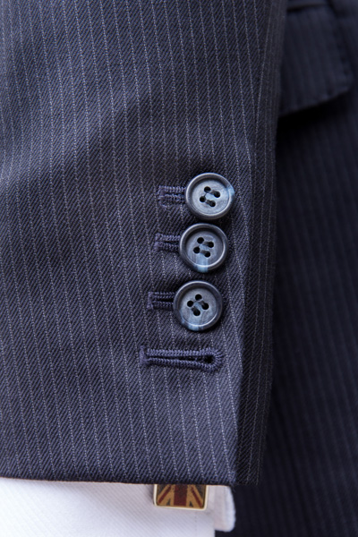 Button detail of London cut suit