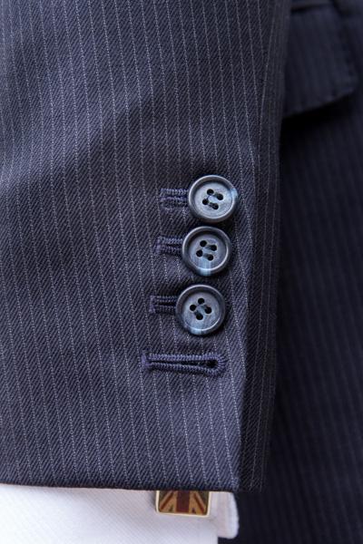 Button detail of London cut suit