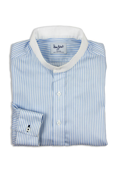 Bespoke white and blue shirt
