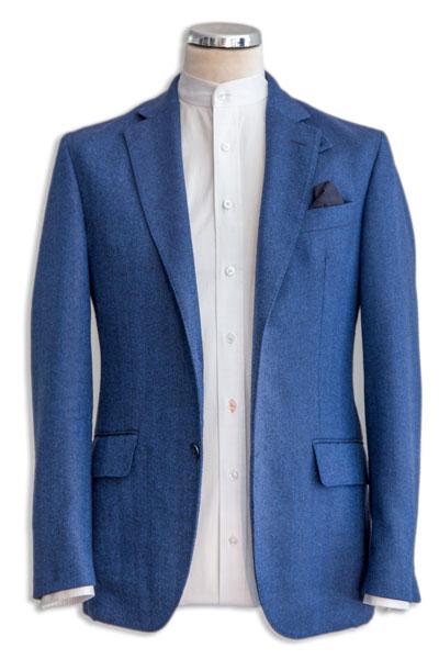 White Shirt with blue jacket