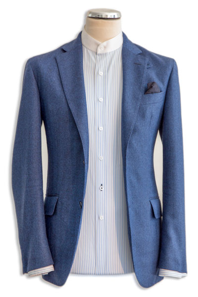 Henry Herbert blue stripe shirt with jacket