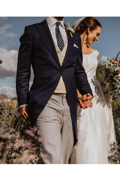 Beautiful Morning Suit and Bride